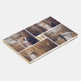 Modern Wedding Monogram 4 Photo Collage Guest Book