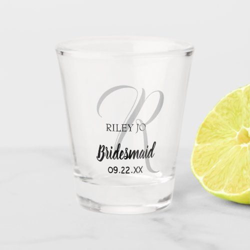 Modern Wedding Monogram Elegant Bridesmaid Shot Glass