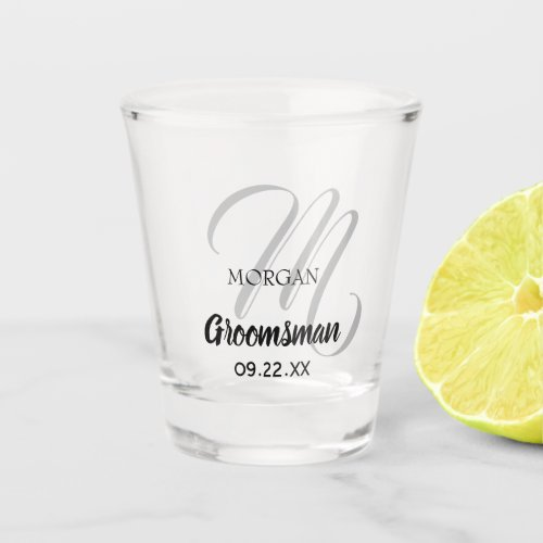 Modern Wedding Monogram Elegant Groomsman Shot Glass