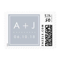 Modern Wedding Monogram Postage Stamps | Slate