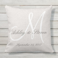 Modern Wedding Monogram Rustic Linen Look Outdoor Pillow