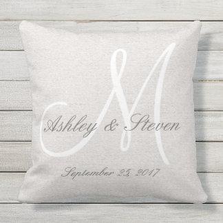 Modern Wedding Monogram Rustic Linen Look Outdoor Pillow