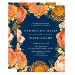 Modern Wedding, Orange Floral Wreath Invitations