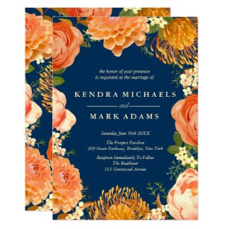 Modern Wedding, Orange Floral Wreath Invitations