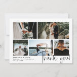"""Modern Wedding Photo Collage Thank You<br><div class=""""desc"""">Say thank you to your wedding guests with a photo collage where you can feature five of your own lovely wedding photos. Add your names and wedding date in a modern black font. Thank you is written in a charming hand-written script. On the back you can write by hand a...</div>"""