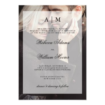 Customize_My_Wedding Modern Wedding Photo Invitation with Overlay