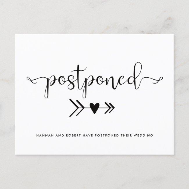 Modern Wedding Postponement Heart Black White Announcement Postcard