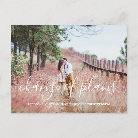 Modern Wedding Postponement Photo Announcement Postcard