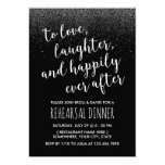 Modern Wedding Rehearsal Dinner Black Glitter Card