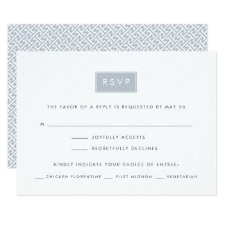 Modern Wedding RSVP Card w/ Meal Choice | Slate