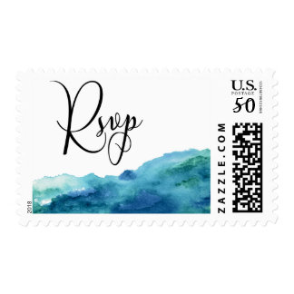 Modern Wedding RSVP in Blue Green Aqua Watercolor Postage