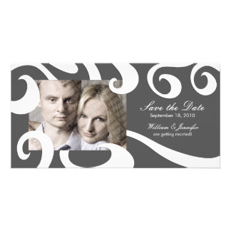 Modern Wedding Save the Date Photo Card- Dark Gray