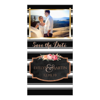 Modern Wedding Save the Date Photo Rose Gold Card