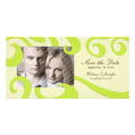 Modern Wedding Save the Date PhotoCard Cream/Green Personalized Photo Card