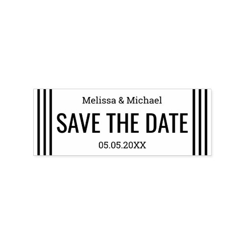 Modern Wedding Save The Date Rubber Stamp