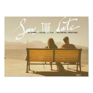 Modern Wedding Save The Date Script Photo Card