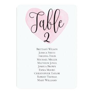 Modern wedding seating chart Pink heart table plan Invitation