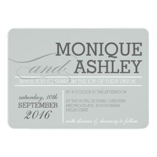 MODERN WEDDING simple bold text monochrome gray Card