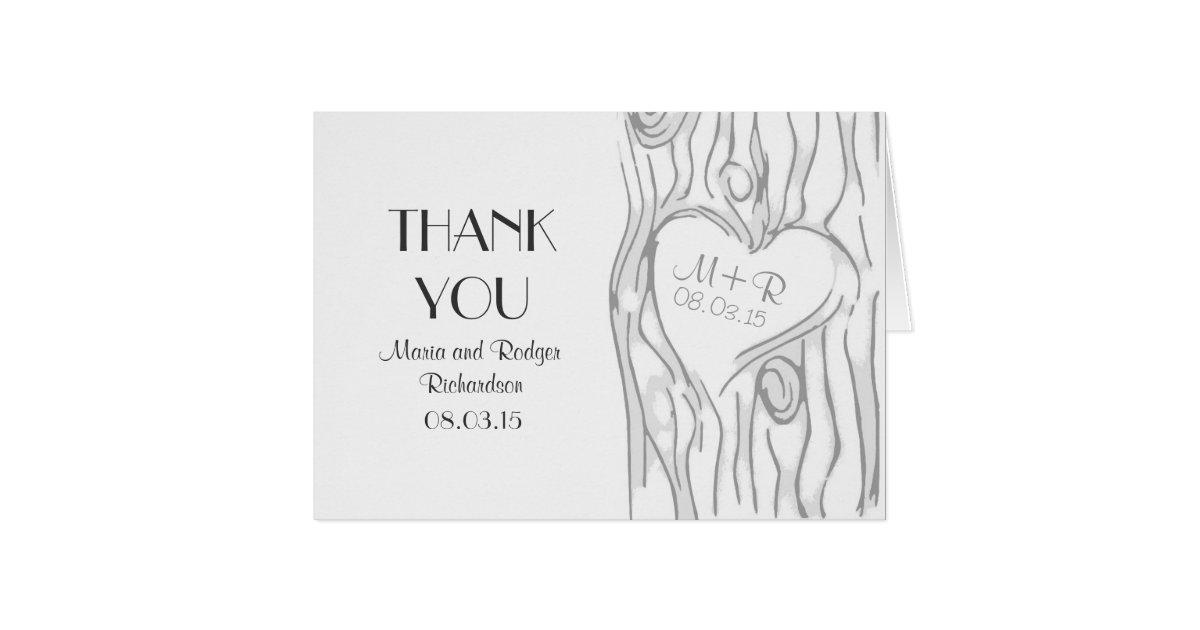 Modern Wedding Thank You Card With Tree