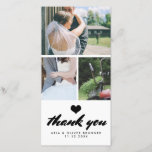 "Modern Wedding Thank You Three Photo Collage<br><div class=""desc"">Modern Wedding Thank You Three Photo Collage</div>"