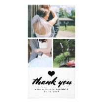 Modern Wedding Thank You Three Photo Collage Card