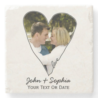 Modern Wedding Valentine Love Heart Custom Photo Stone Coaster