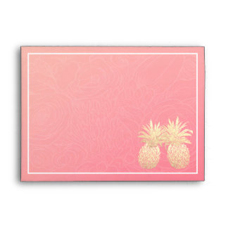 Modern Wedding Vintage Gold Foil Pineapple Couple Envelope