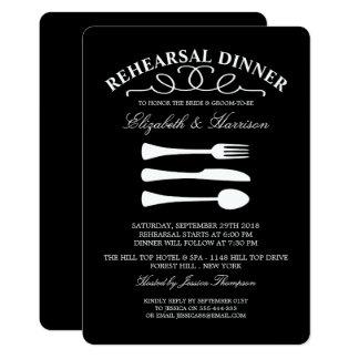 Modern Wedding White Cutlery Rehearsal Dinner Card
