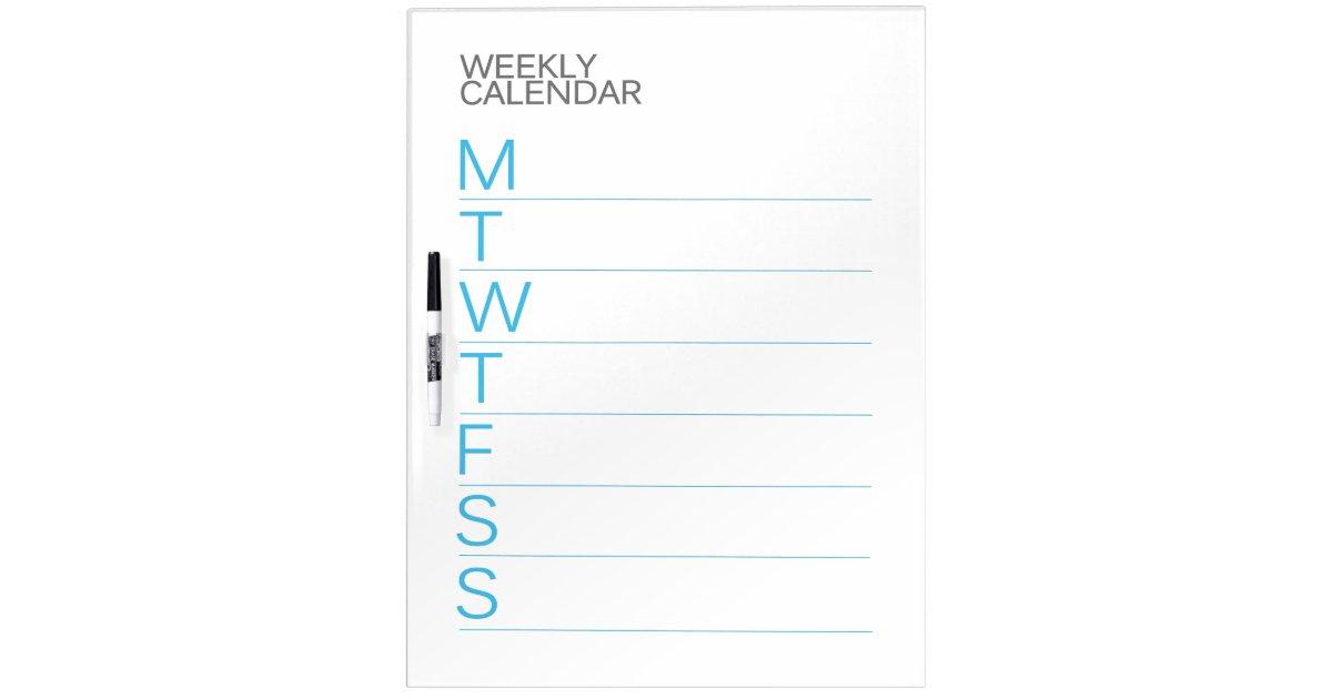 Dry Erase Weekly Calendar Board : Modern weekly calendar dry erase board zazzle