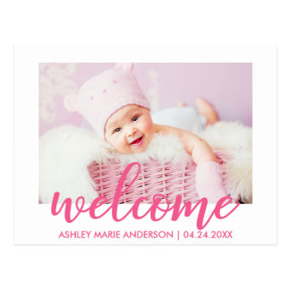 Modern Welcome New Baby Announcement Hot Pink Postcard