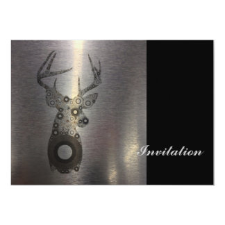 modern western country abstract deer head 5x7 paper invitation card