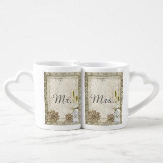 modern western country daisy rustic wedding coffee mug set
