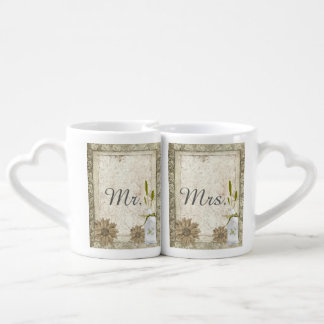 modern western country daisy rustic wedding couples coffee mug