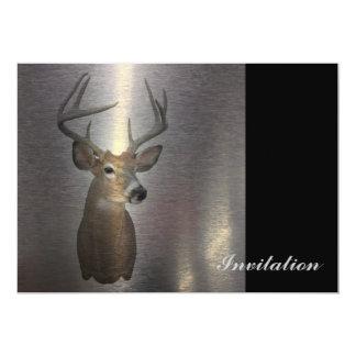 "modern western country deer head 5"" x 7"" invitation card"