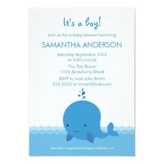 Modern Whale Baby Shower Invitation - Boy