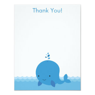 Modern Whale Baby Shower Thank You Flat Card Invite