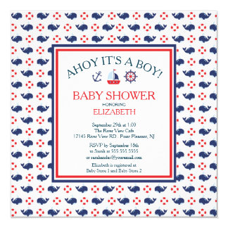 Modern Whale Nautical Boy Baby Shower Invitation