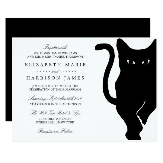 Modern Whimsical Black Cat Wedding Invitation Zazzle Com