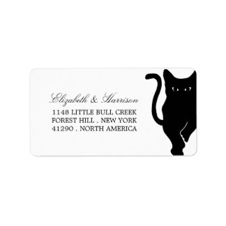Modern Whimsical Black Cat Wedding Label
