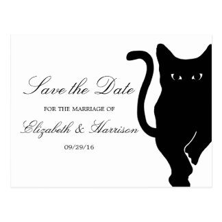 Modern Whimsical Black Cat Wedding Save The Date Postcard