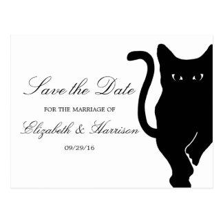Modern Whimsical Black Cat Wedding Save The Date Postcard