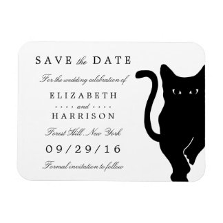 Modern Whimsical Black Cat Wedding Save The Date Rectangular Photo Magnet