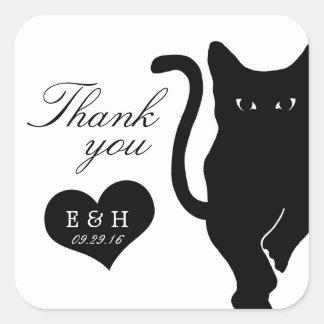 Modern Whimsical Black Cat Wedding Thank You Favor Square Sticker
