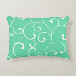 Modern Whimsical Curls Aqua Decorative Pillow
