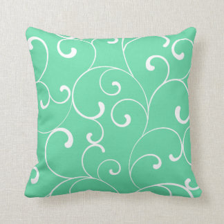 Modern Whimsical Curls Aqua Throw Pillow