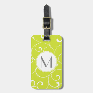 Modern Whimsical Curls Lime Green Monogram Luggage Tag
