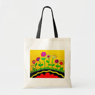 Modern Whimsical Flowers Tote Bag by Prisarts