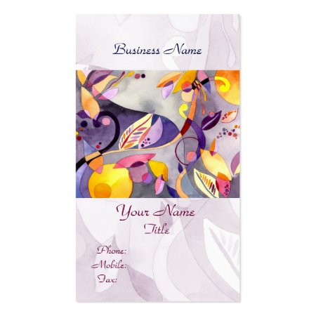 Whimsical Leaves and Flowers Watercolor Customizable Artist Business Cards Template
