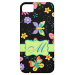 Modern Whimsy Butterflies Black Monogram Personal iPhone 5 Covers
