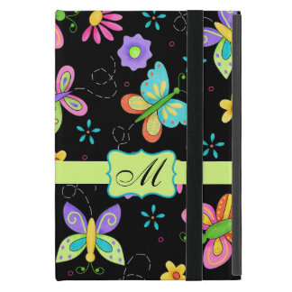 Modern Whimsy Butterflies Black Monogram Personal Cases For iPad Mini